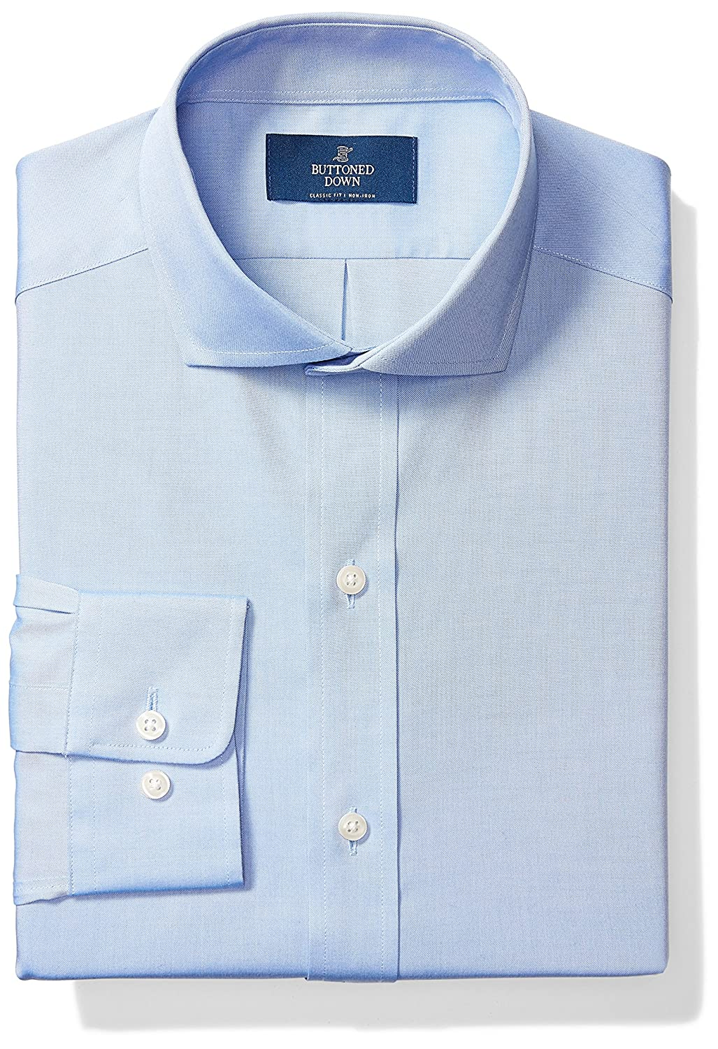 aaedd1b6ce3 Amazon.com  Amazon Brand - BUTTONED DOWN Men s Classic Fit Cutaway-Collar  Solid Pinpoint Non-Iron Dress Shirt  Clothing