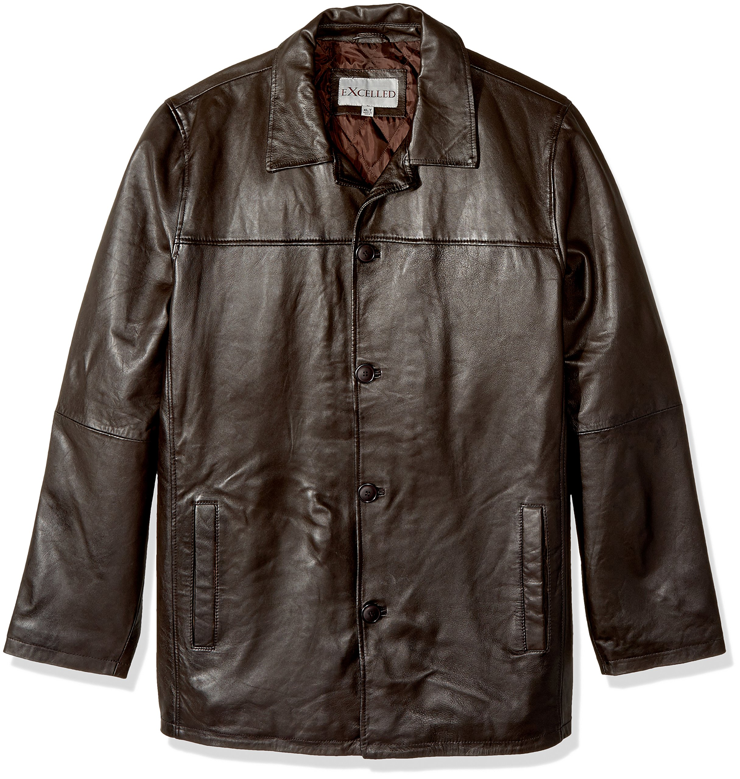 Excelled Men's Big and Tall Four-Button Lambskin Leather Car Coat, Brown, 4XLT