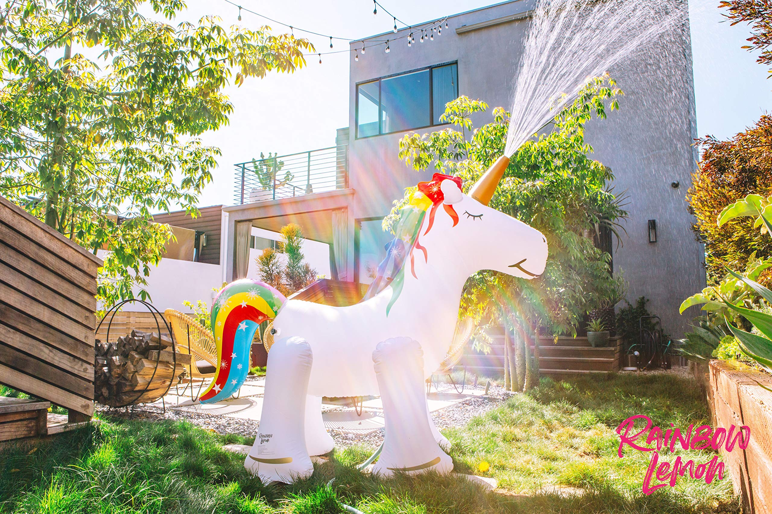 Rainbow Lemon Giant Inflatable Unicorn Sprinkler 10