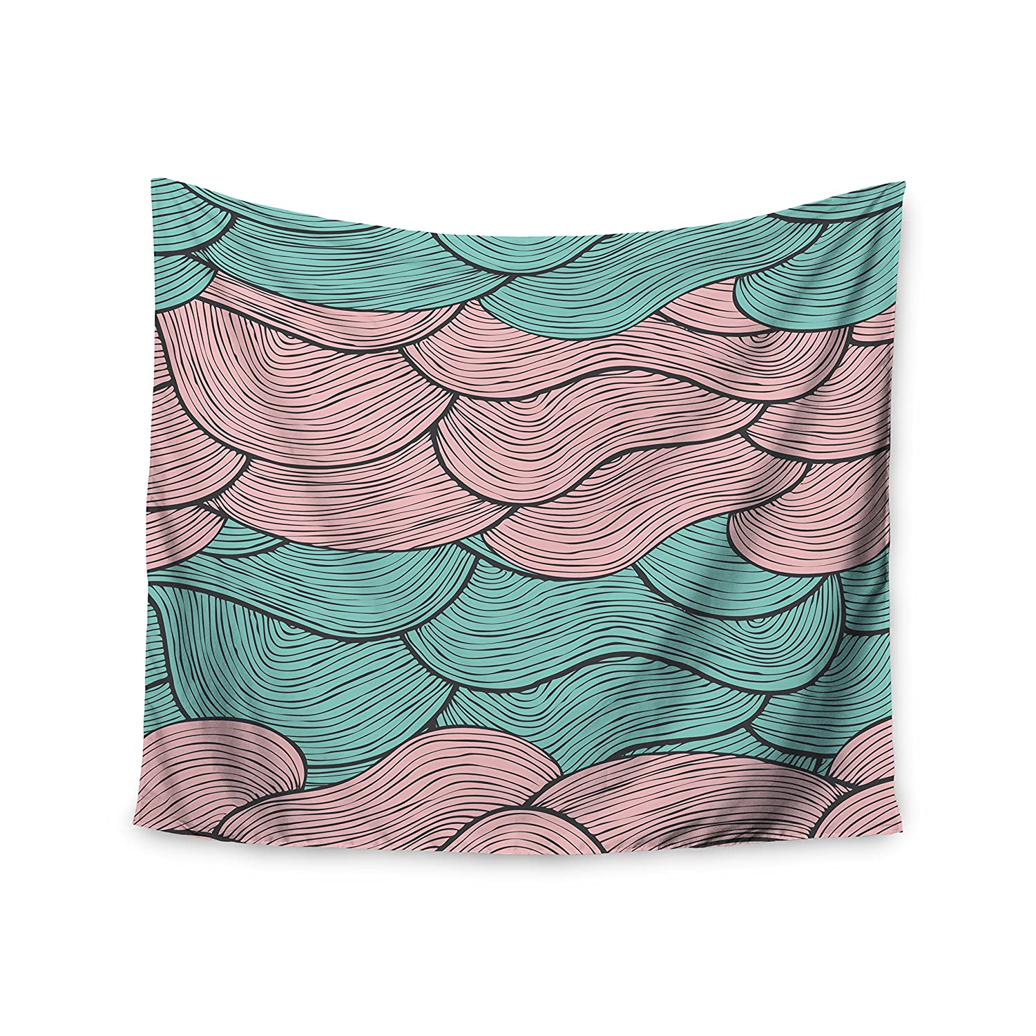 Kess InHouse Pom Graphic Design Summerlicious Green Pink Wall Tapestry 51 X 60