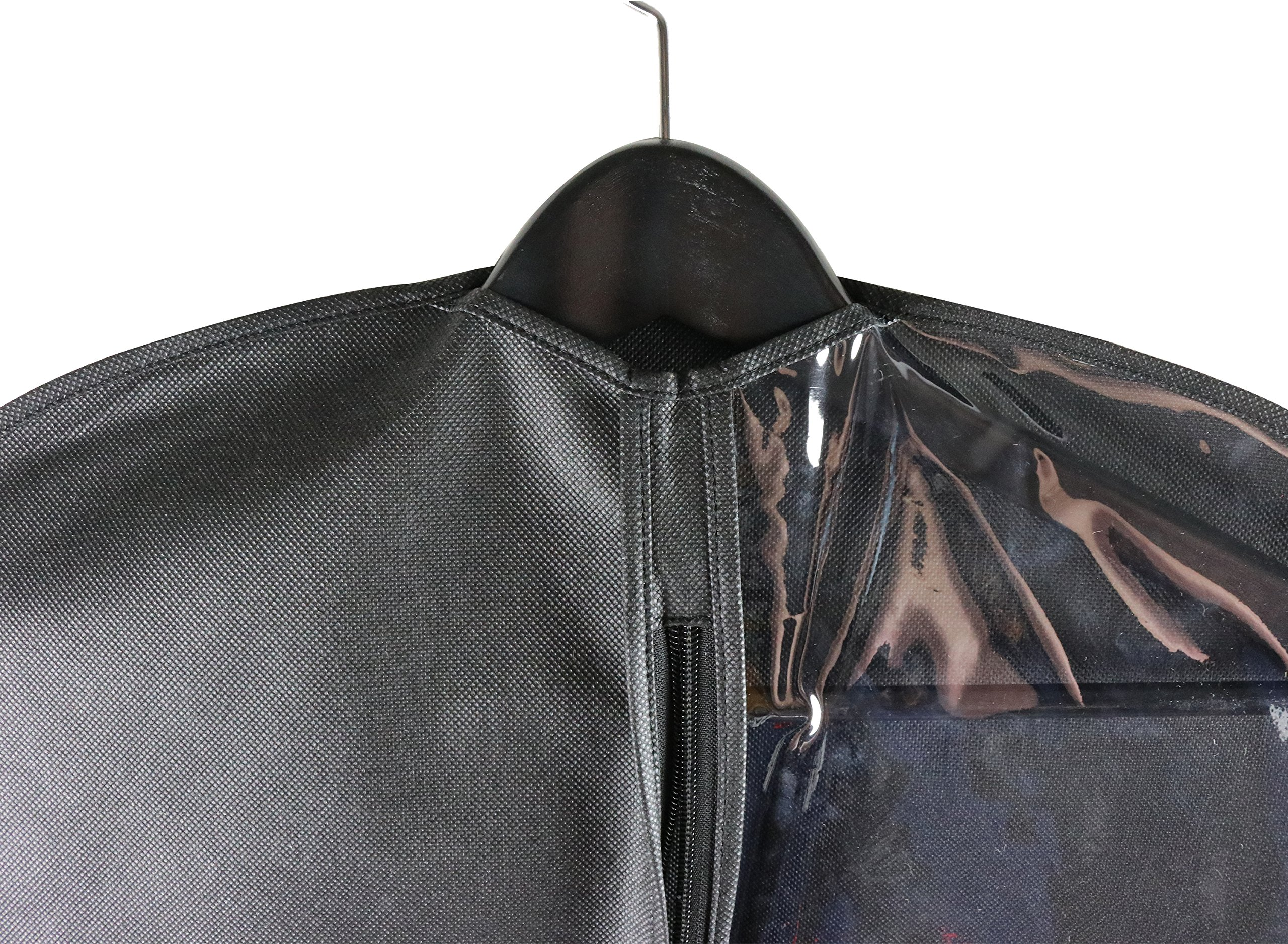 Caskyan 42'' Garment Bags, Breathable Black Non-Woven Fabric + Clear PVC for Dresses, Coats, Suits, Storage or Travel- 2 Pcs