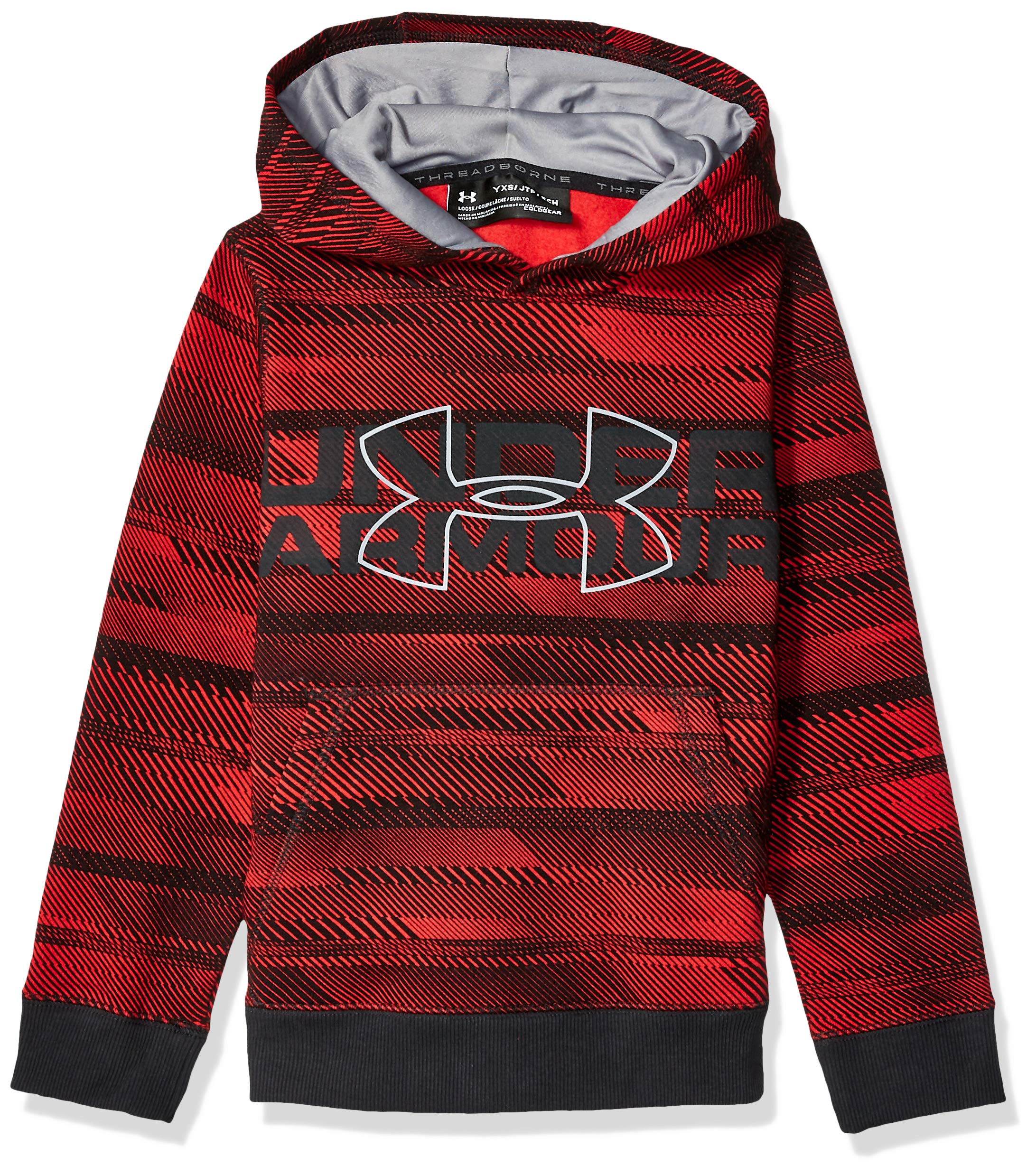 Under Armour Boys' Threadborne Nov Logo Hoodie,Red /Steel, Youth X-Large by Under Armour