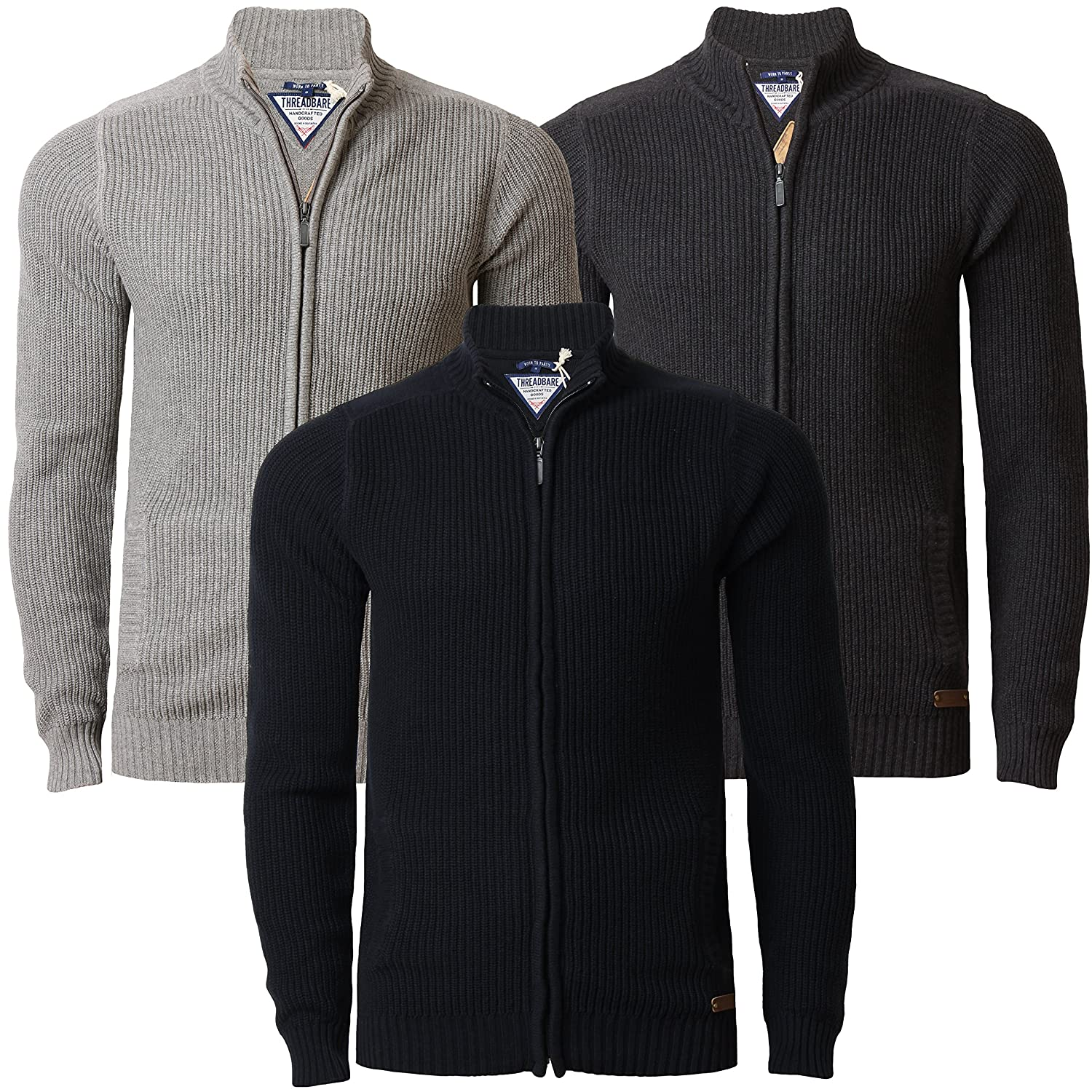 Mens Cardigan Full Zip Jumper Threadbare IMT 099 100% Cotton Top ...