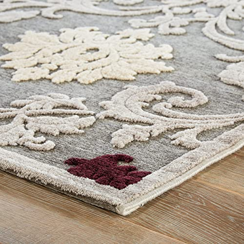 Jaipur Living Glamourous Damask Gray Silver Area Rug 9 X 12