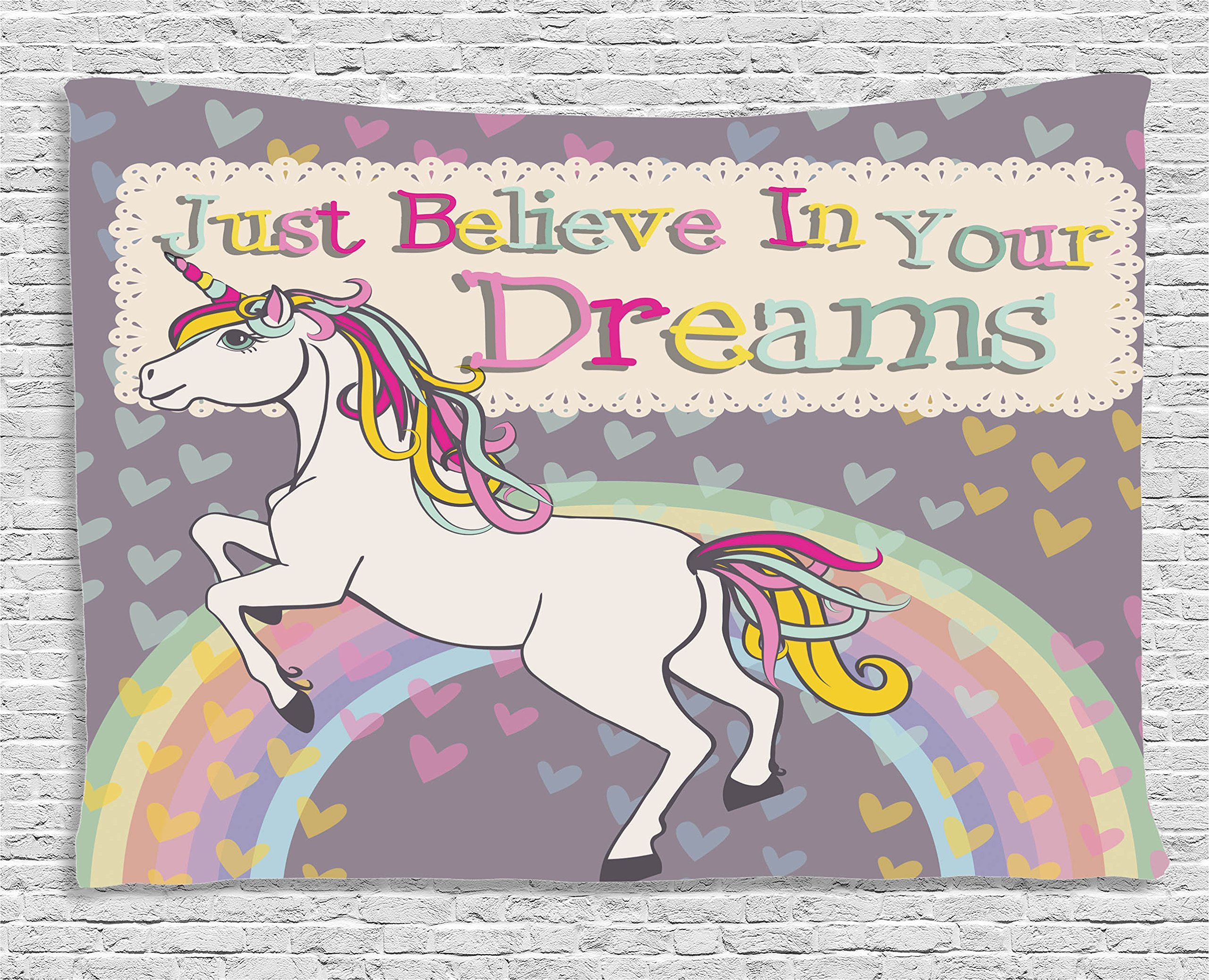 Ambesonne Teen Girls Decor Tapestry, Unicorn with Believe in Your Dreams Inspiring Quotes Illustration, Wall Hanging for Bedroom Living Room Dorm, 60 X 40 inches, Lilac and Beige