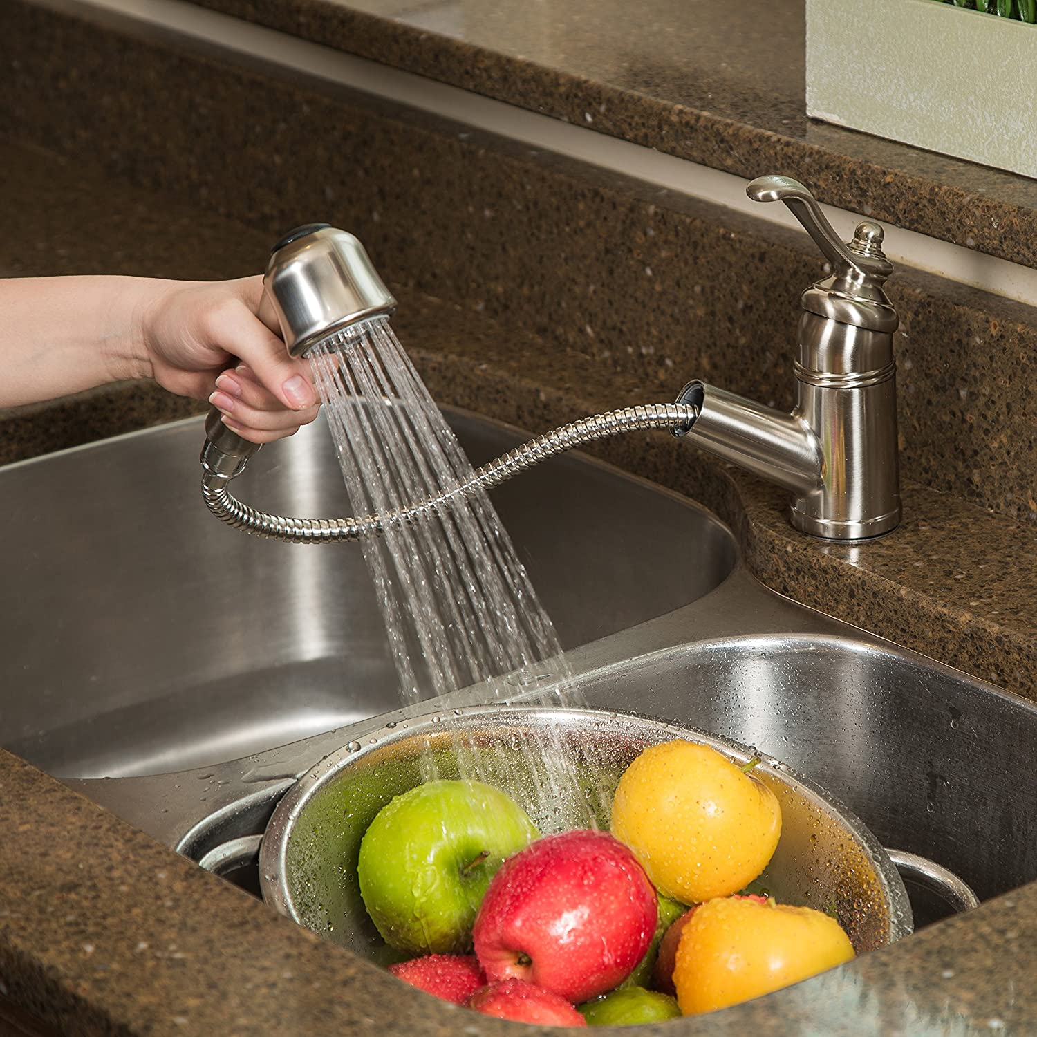 Pacific S Kitchen Faucets Pacific Bay Bainbridge Pull Out Kitchen Faucet With Sprayer For
