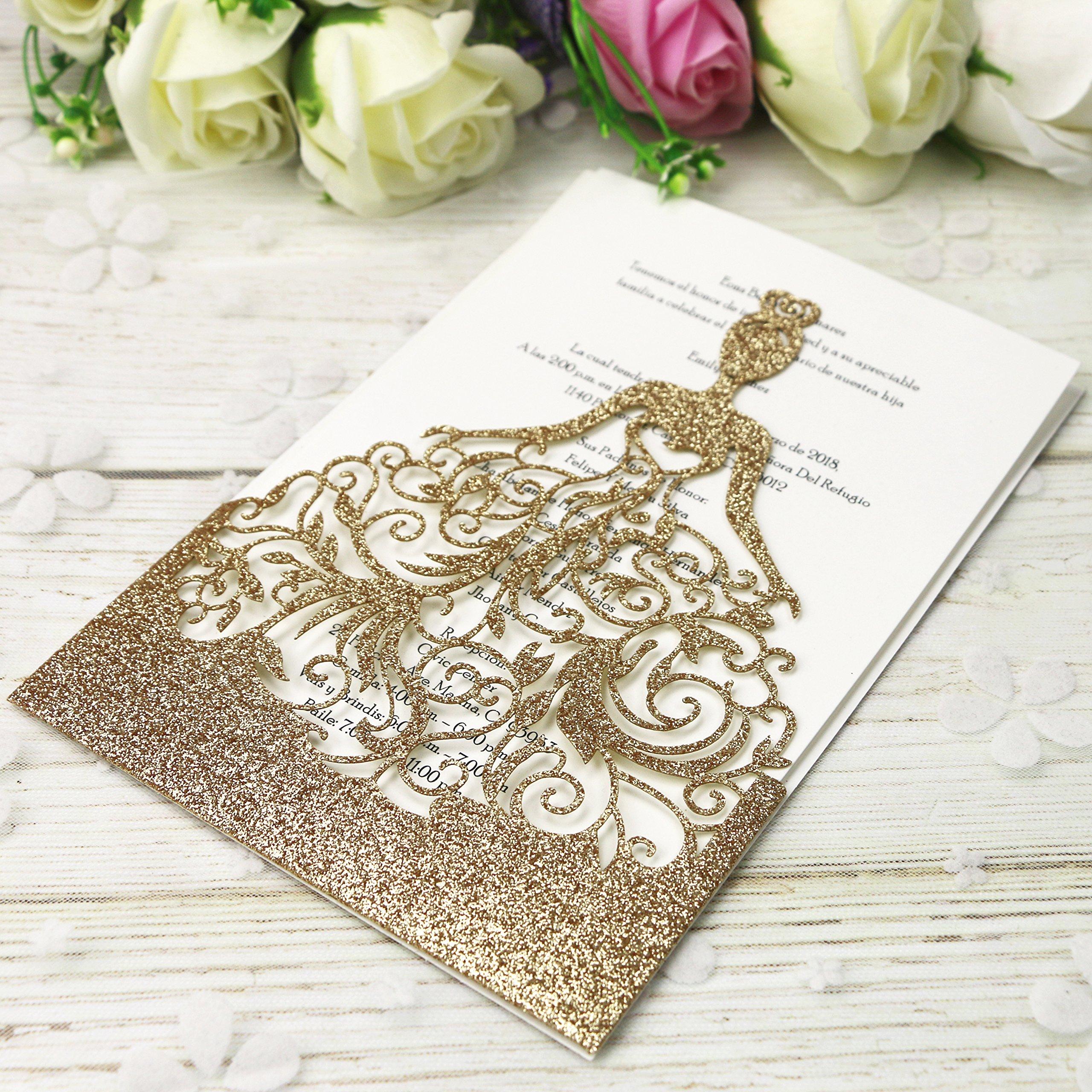 PONATIA 25PCS Lacer Cut Wedding Invitations Card Hollow Bride Invitations Cards for Wedding Bridal Invitation Engagement Invitations Cards (Rose Gold Glitter) by PONATIA