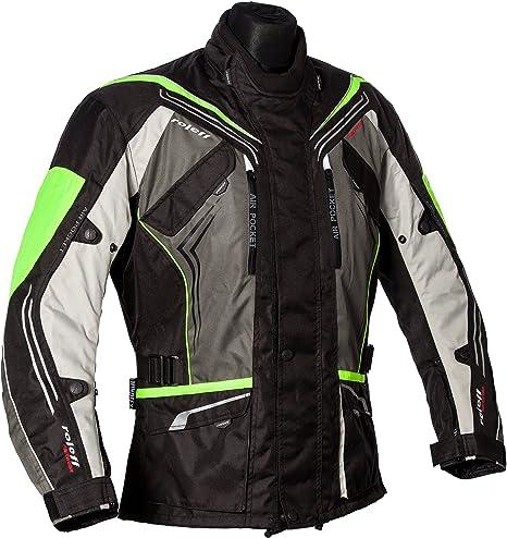 Roleff Schwarz Graue Motorradjacke Mit Neon Gelben Elementen Protektoren Belüftungssystem Klimamembrane Und Herausnehmbarem Thermofutter Auto