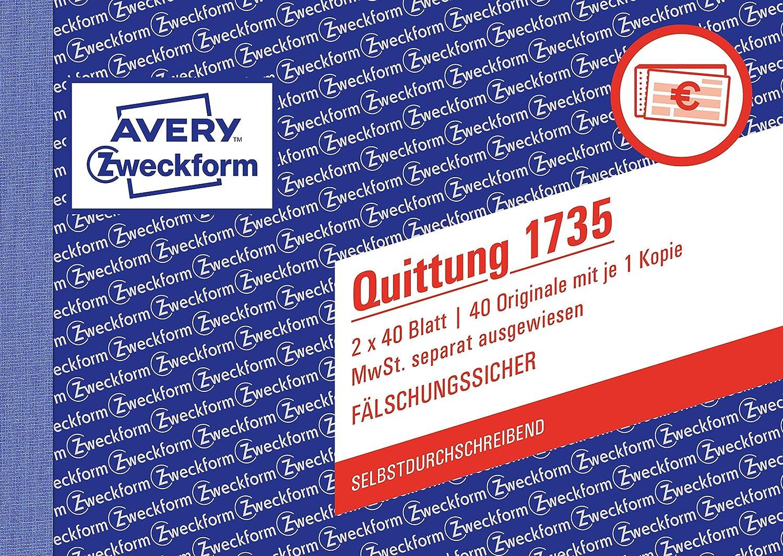 Avery Zweckform 1735 Quittung (A6 quer, MwSt. separat ausgewiesen, 2x40 Blatt) weiß/gelb 2x40 Blatt) weiß/gelb