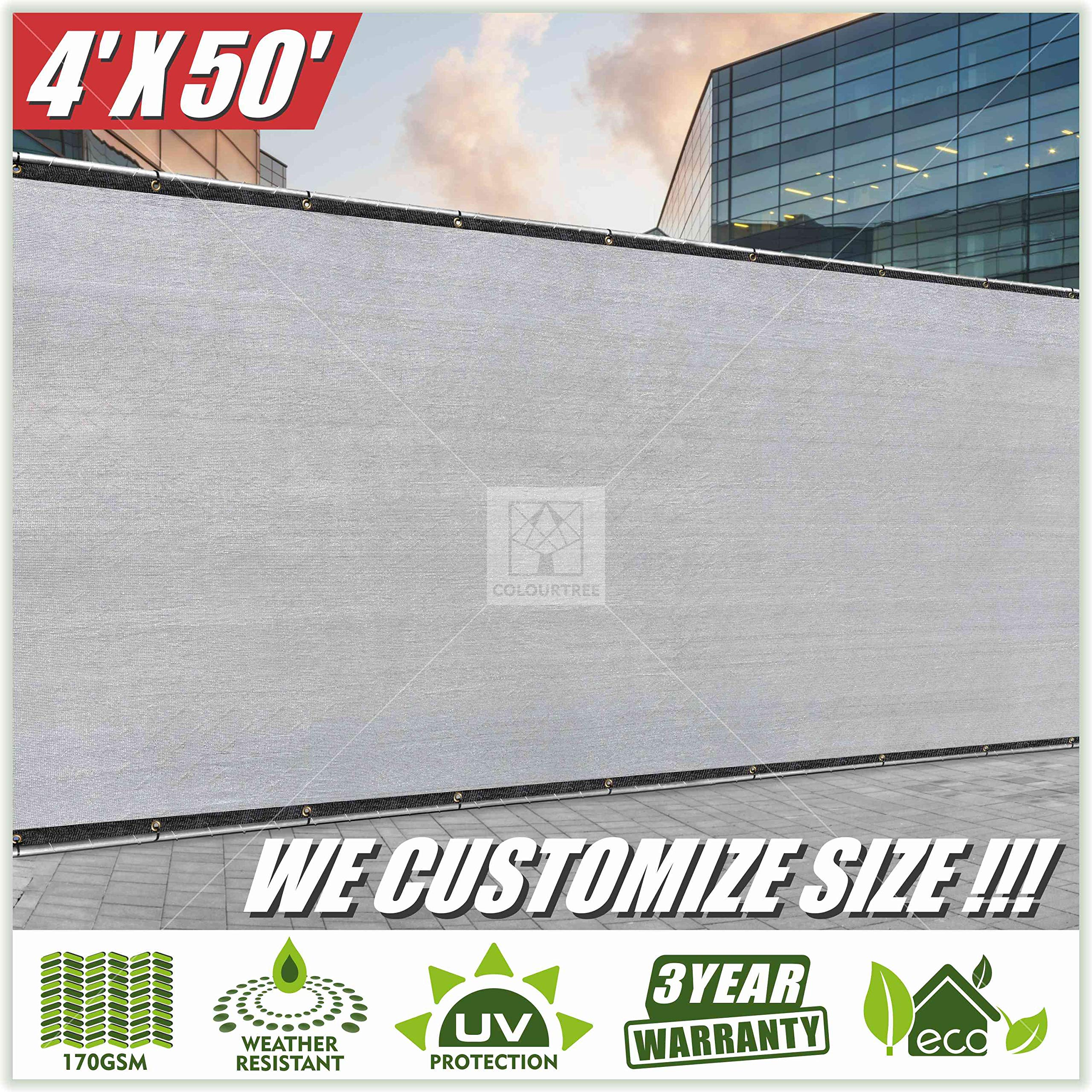 ColourTree 4' x 50' Grey Fence Privacy Screen Windscreen Cover Fabric Shade Tarp Netting Mesh Cloth - Commercial Grade 170 GSM - Heavy Duty - 3 Years Warranty - Custom by ColourTree