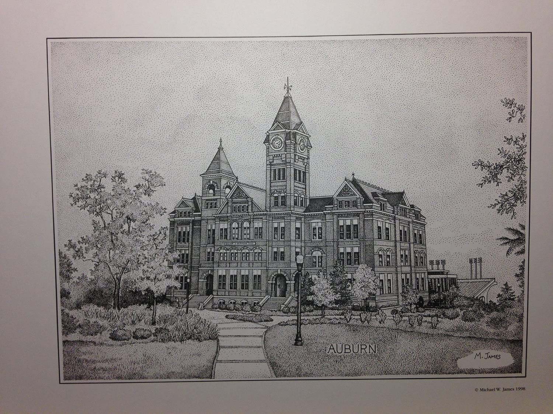 Auburn Samford Hall pen and ink 11x14 print