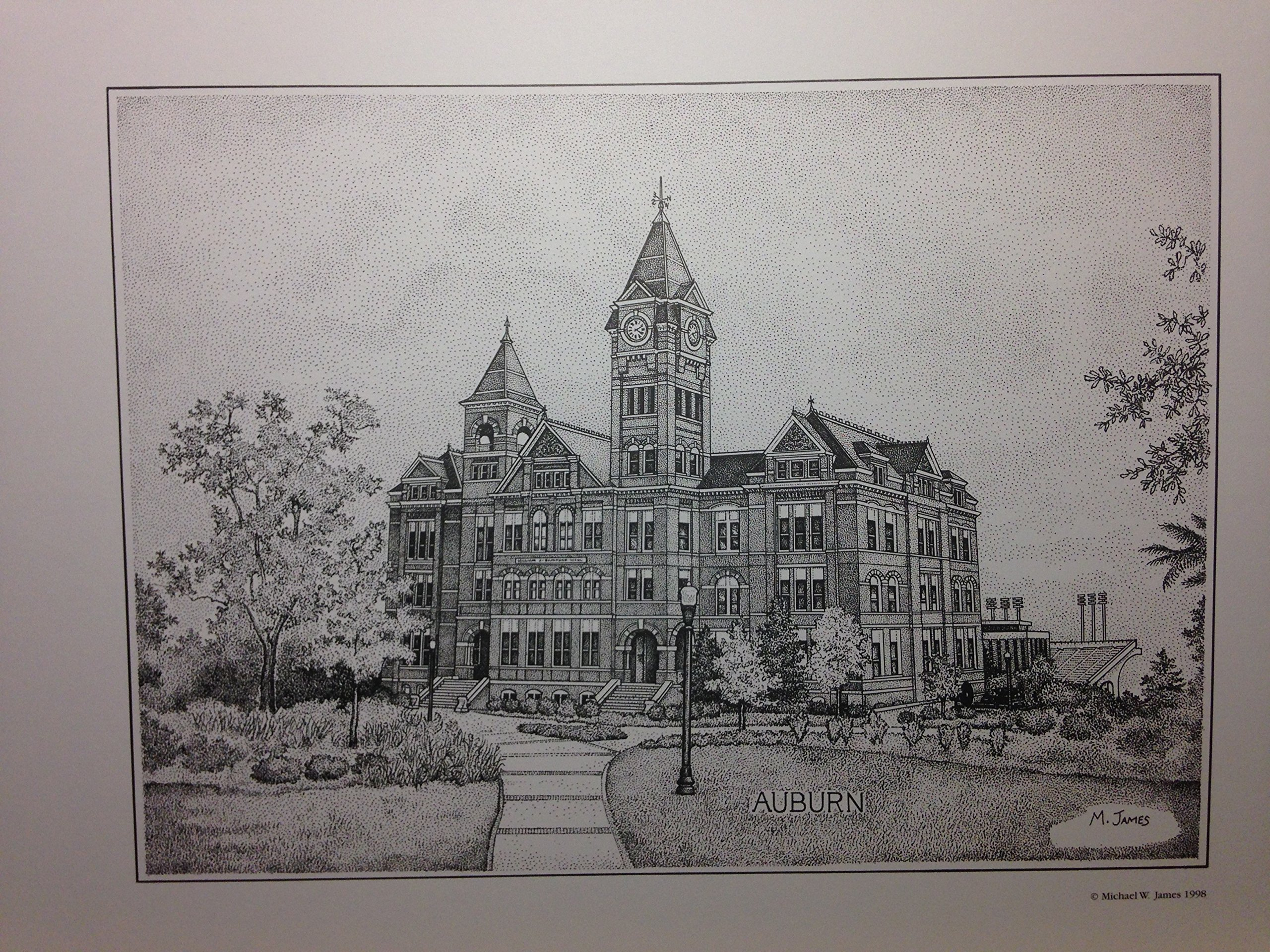 Auburn Samford Hall pen and ink 11''x14'' print by Campus Scenes (Image #1)