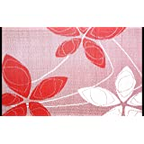 Outdoor Rug Patio Mat - (4ft x 6ft) - Alaska, Reversible Design in Red and White as Outdoor Area Rug- by b.b.begonia