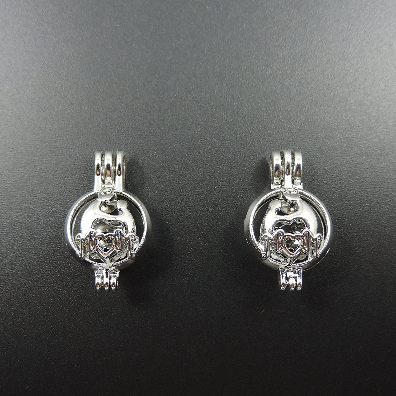 MOM 12pcs Imitation PlatinumPearl Bead Cage Pendant Essential Oil Diffuser DIY Pendant Necklace Jewelry Accessories