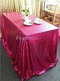 "ShiDianYi 60x102"" Sequin RECTANGULAR Tablecloth- (A+Fuchsia)"