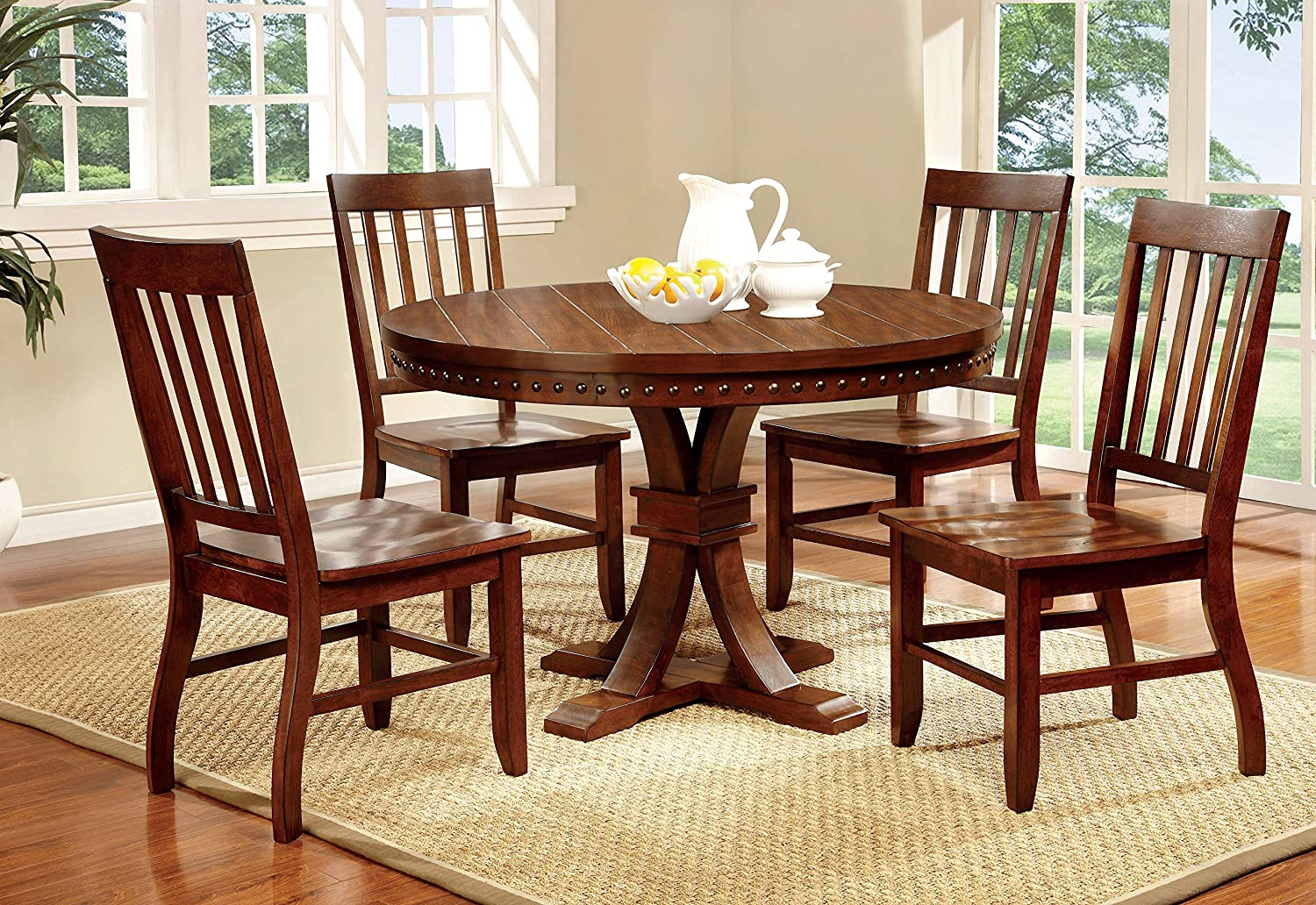 Amazon com furniture of america castile 5 piece transitional round dining table set dark oak table chair sets