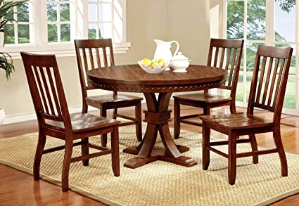 Furniture Of America Castile 5 Piece Transitional Round Dining Table Set,  Dark Oak