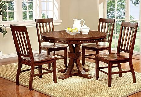 Furniture Of America Castile 5 Piece Transitional Round Dining Table Set,  Dark Oak