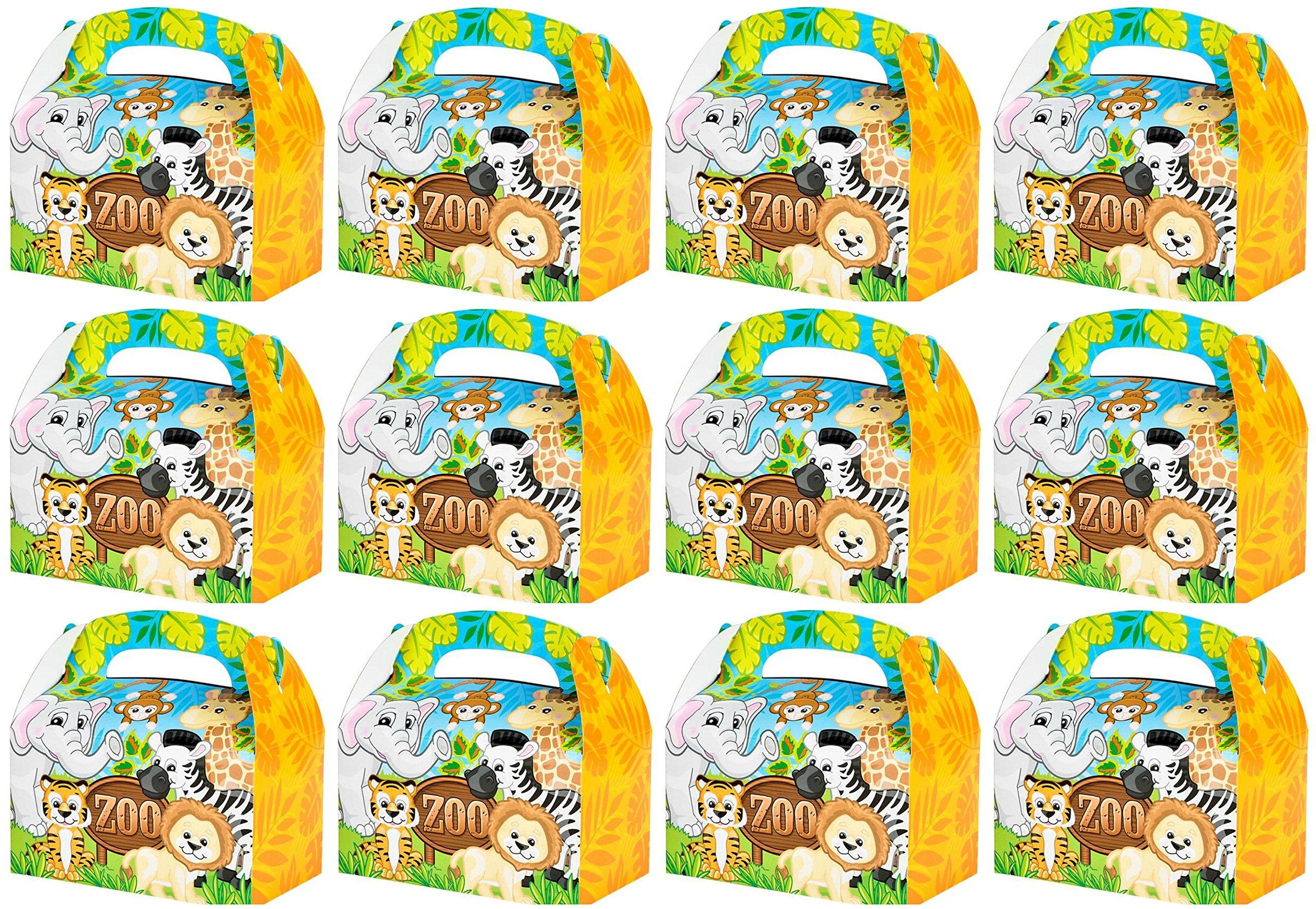 Zoo Animal Theme Goody/Treat Boxes - 24 Pack