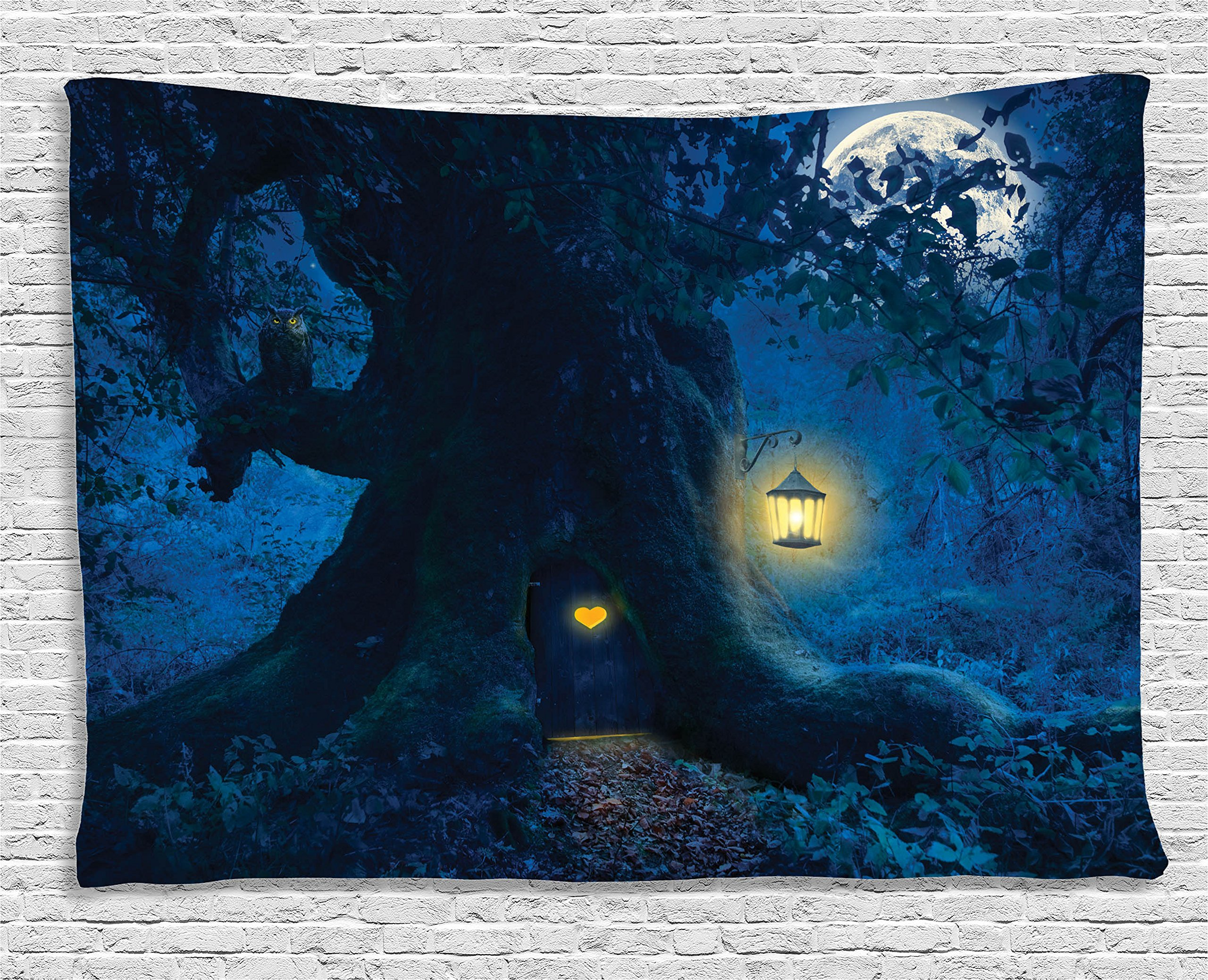 Ambesonne Fantasy House Decor Tapestry, Magical Night with A Little Home in The Trunk of an Ancient Tree in The Woods, Wall Hanging for Bedroom Living Room Dorm, 60 W X 40 L, Navy and Seal Brown