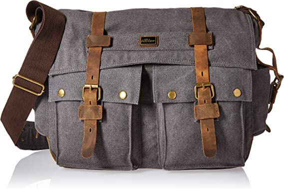 Shoulder Messenger Military Vintage Bag Army Leather Case School Retro Satchel
