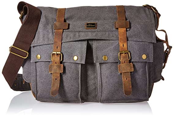 Amazon.com: Iblue Vintage Canvas Cross Body Laptop Messenger Bag ...