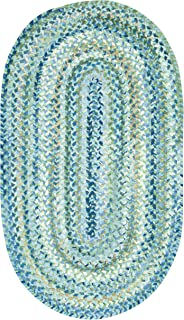 "product image for Capel Rugs Ocracoke Oval Braided Area Rug, 27"" x 48"", Light Blue"
