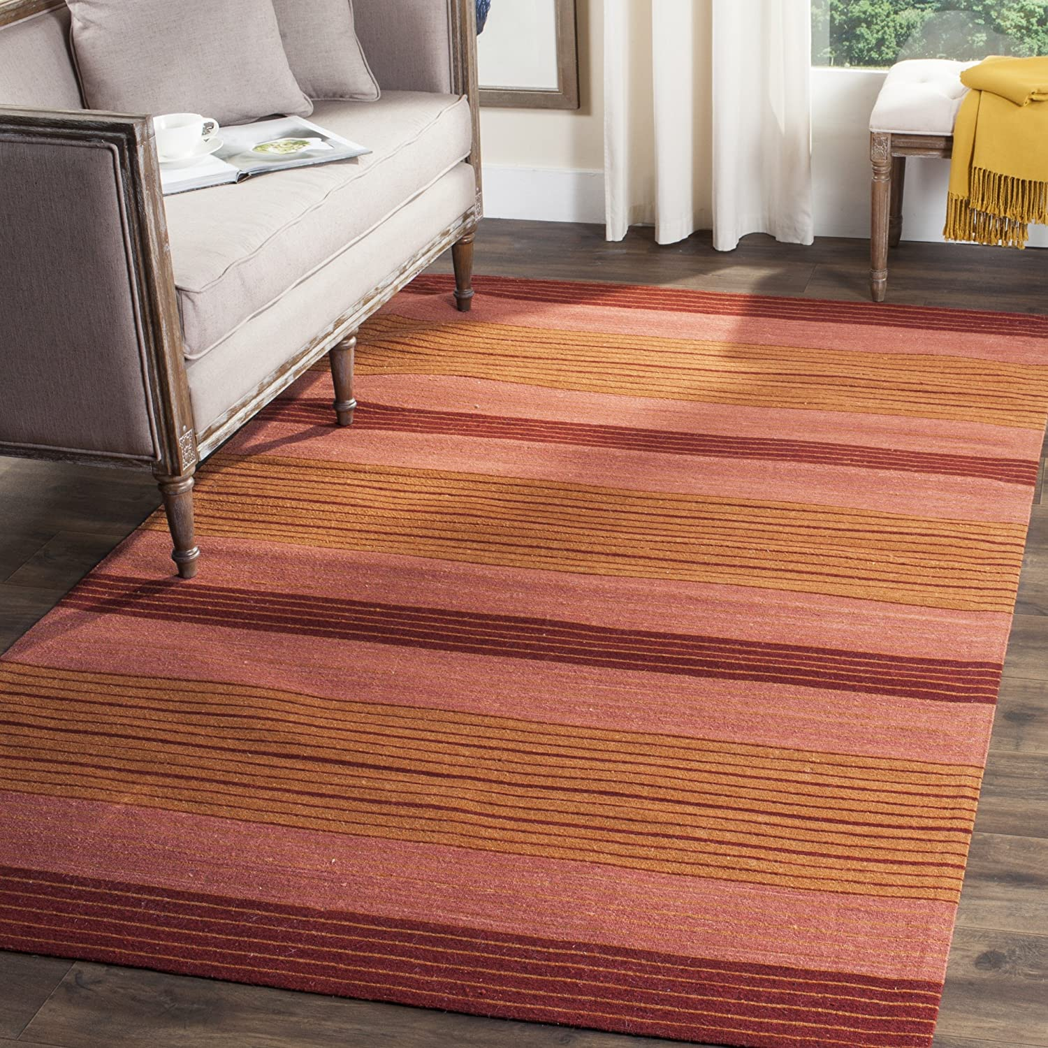 Safavieh Marbella Collection MRB285A Flat Weave Rust Wool Area Rug (8 x 10)