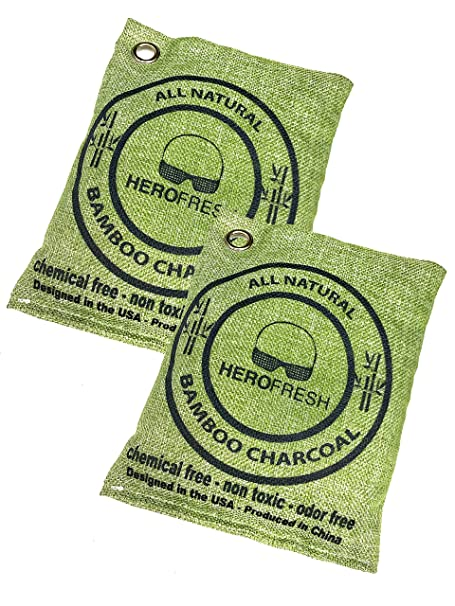 Amazon.com: HeroFresh Breathe Green Charcoal Bags, Air Freshener, 2 Pack 200g, Natural Odor Eliminator, Bamboo Charcoal Air Purifying Bags, Scent Absorber, ...