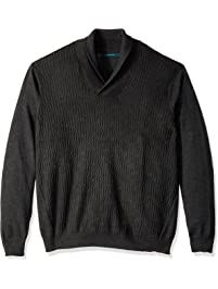 Perry Ellis Mens Big and Tall Cable Shawl Pullover Cardigan Cardigan Sweater