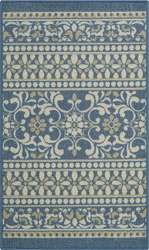 Maples Rugs Zoe Kitchen Rugs Non Skid Accent Area Carpet [Made in USA], 1\'8  x 2\'10, Blue