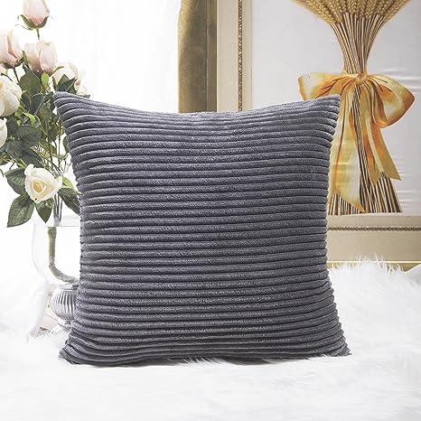Peachy Home Brilliant Striped Corduroy Velvet Cushion Cover Easter Square Throw Pillow Sofa Living Room Couch 45 X 45 Cm 18 Inch Dark Grey Short Links Chair Design For Home Short Linksinfo