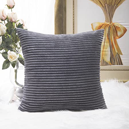 HOME BRILLIANT Soft Decorative Striped Corduroy Velvet Square Throw Pillow Sofa  Cushion Covers For Couch,