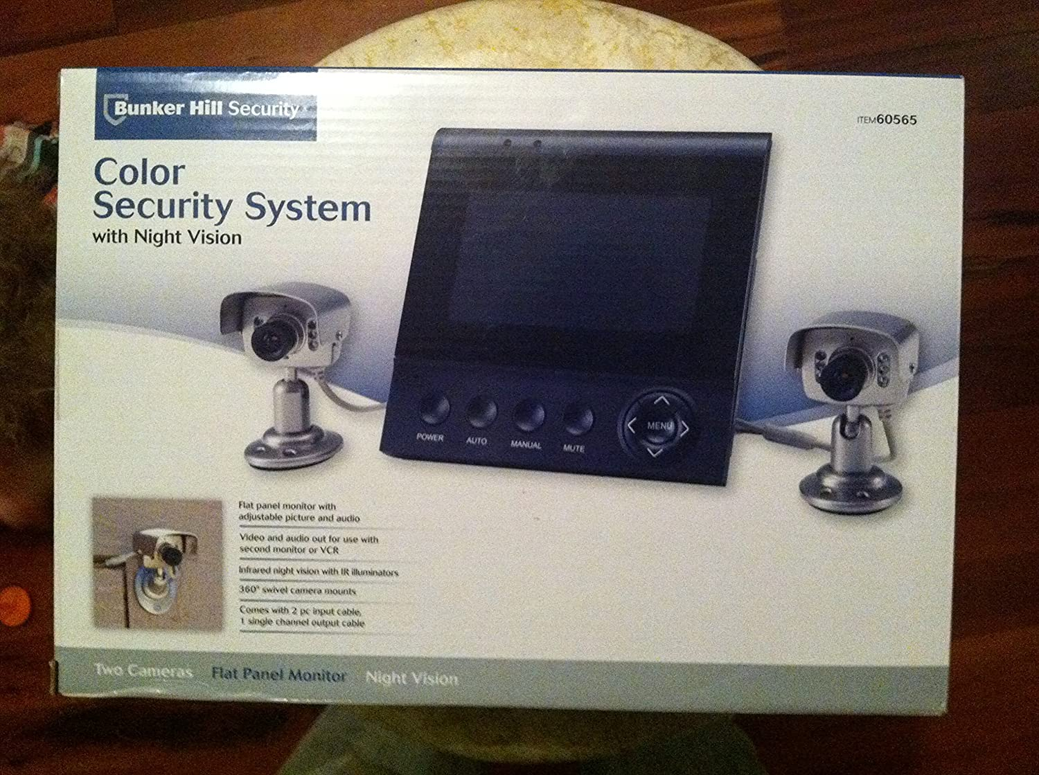 Color Security System with Two Infrared Night Vision Cameras and Flat Panel  M