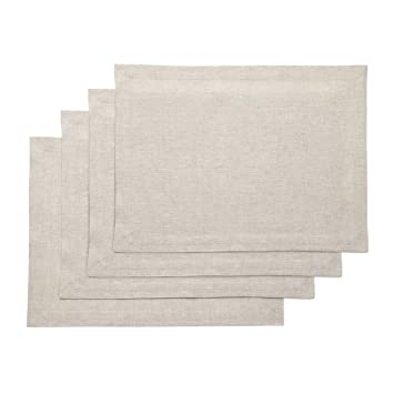 9cf3cce5cd80d Solino Home Medium Weight Linen Placemats - 100% Pure Linen - 14 x 19 Inch  Set of 4, Chambray Ivory