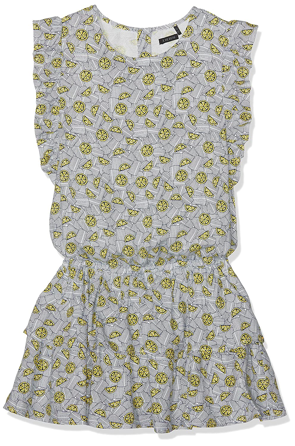 Beige (Blanc Cassé 19) 10 ans  IKKS Robe All Over Citron et Navy, Fille