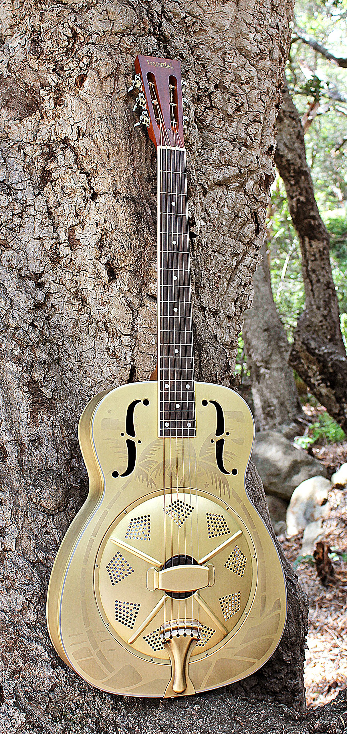 Imperial Palmulator Brass Body Resonator Guitar with Tropical Palm Tree Etching