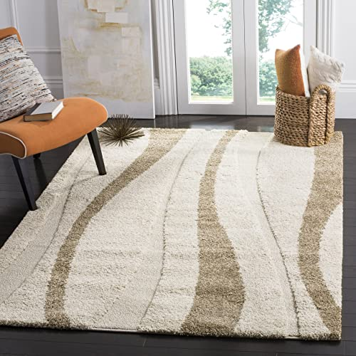 Safavieh Florida Shag Collection SG451-1128 Abstract Stripe Textured 1.18-inch Thick Area Rug
