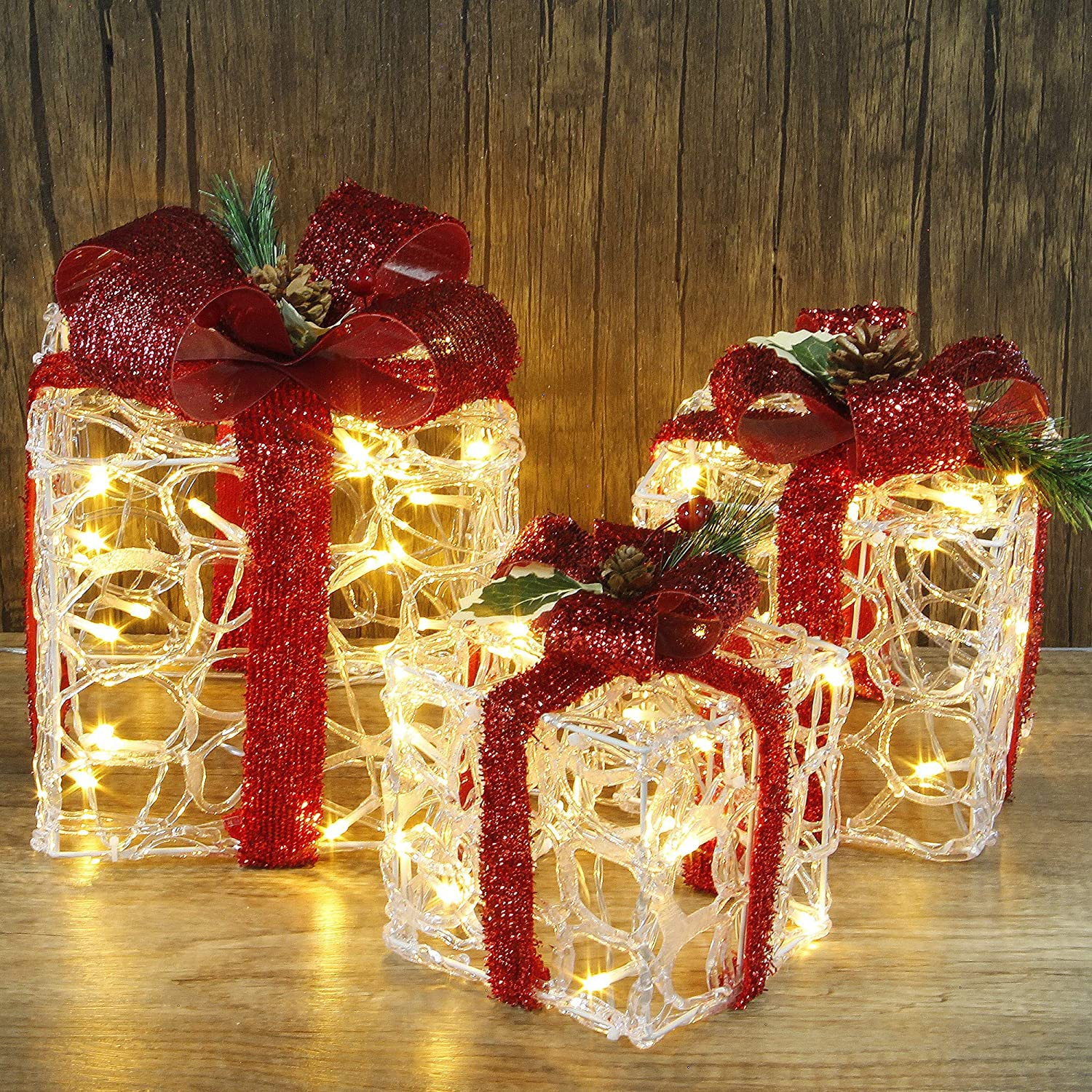 ATDAWN Set of 3 Lighted Gift Boxes Christmas Decorations, Clear Acrylic Pre-lit Present Boxes, Christmas Home Gift Box Decorations