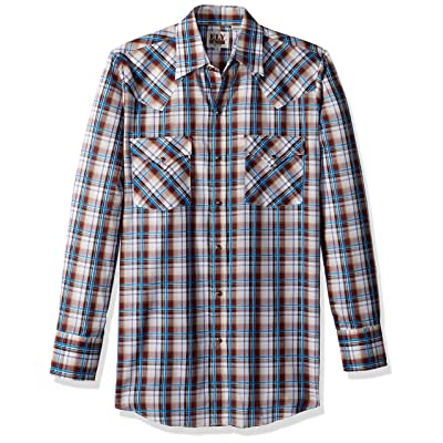 ELY CATTLEMAN Men's Long Sleeve Textured Plaid Shirt at Men's Clothing store