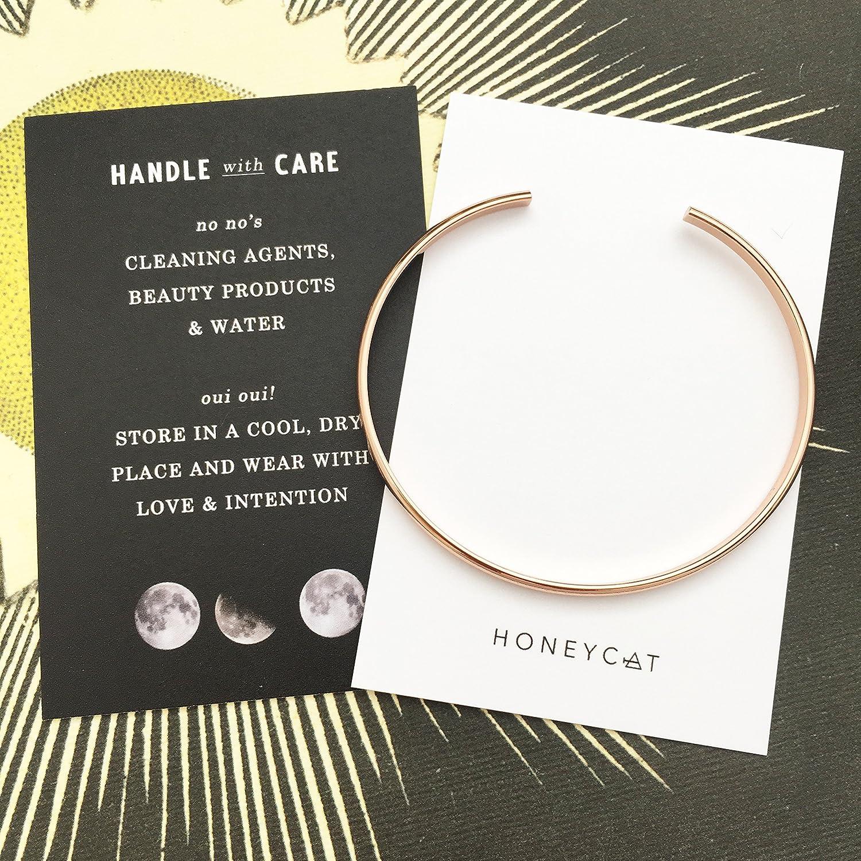 or Silver Delicate Jewelry 18k Rose Gold Plate Minimalist HONEYCAT Thin Open Bracelet in 24k Gold Plate