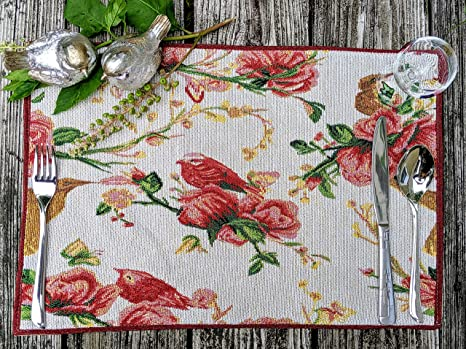 Vintage Linen embroidered ivory and gold vintage dinner placemats