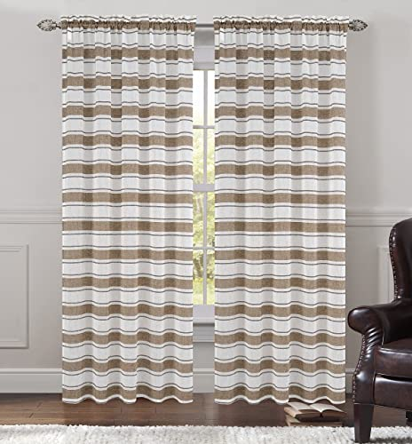 Urbanest 54-inch by 96-inch Set of 2 Faux Linen Sheer Deneuve Drapery Curtain Panels, Chocolate