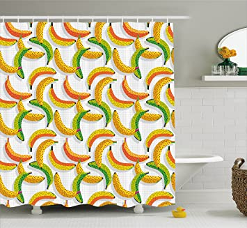 Ambesonne Vintage Shower Curtain By Retro 80s Fruit Fashion Banana Pattern Funky Hipster Illustration