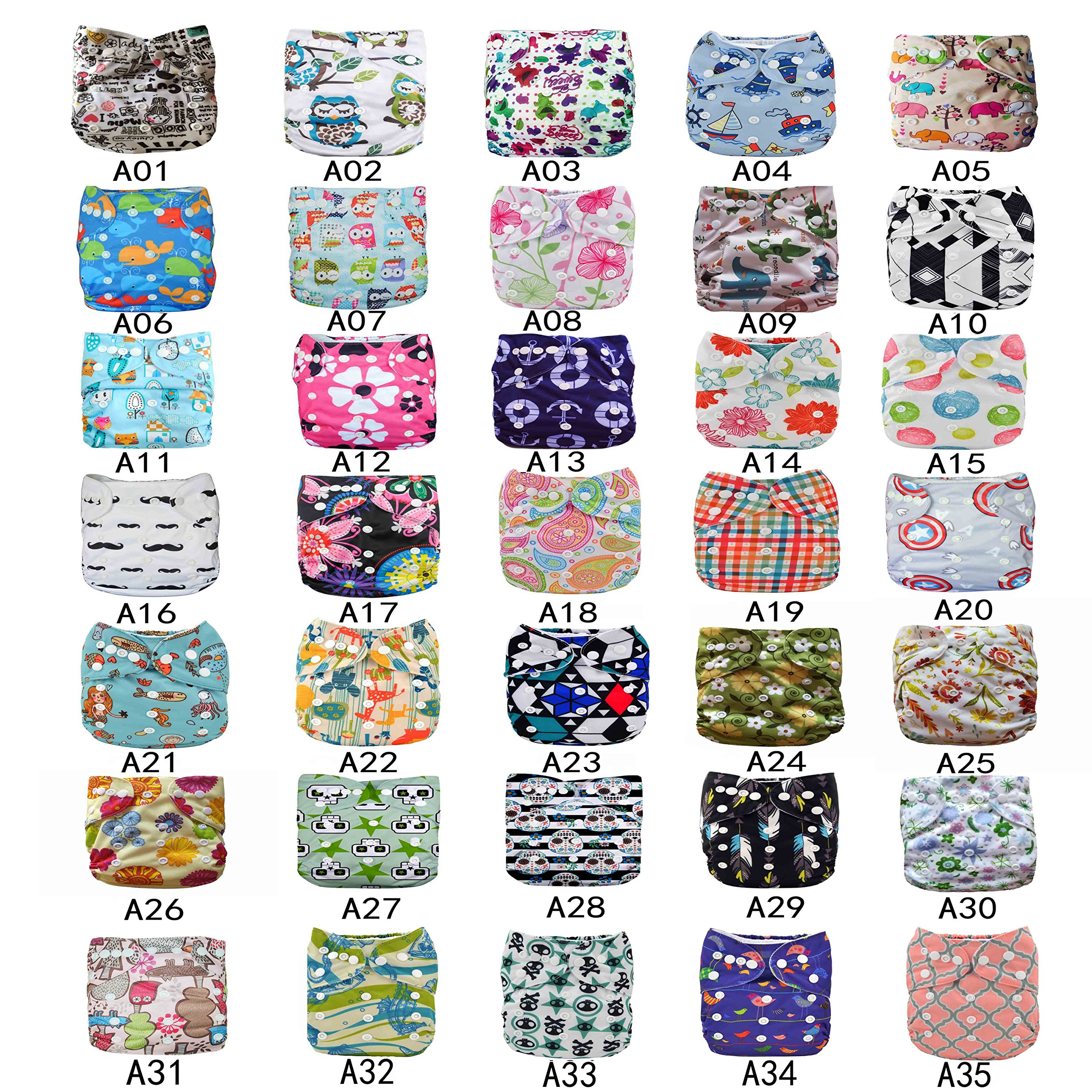 LilBit U Pick Reusable Baby Cloth Diaper(Please email us the color you want ) (with bamboo charcoal inserts, 15 diapers + 15 inserts)