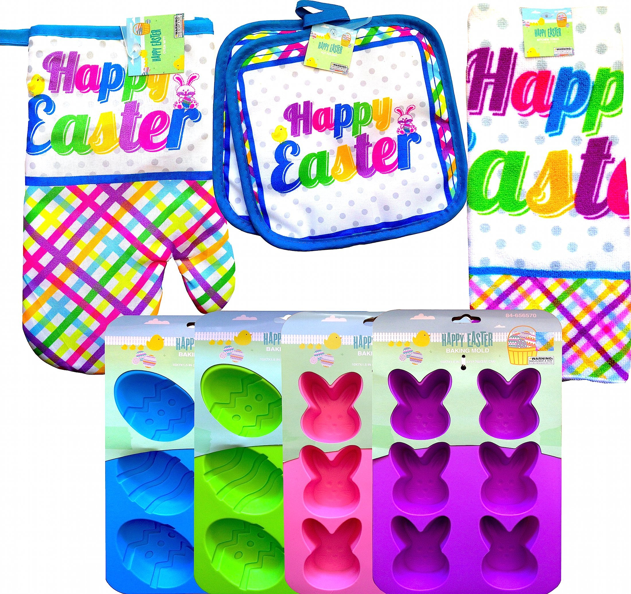 Happy Easter Kitchen Bakeware Supplies Bakeware Starter Set, Oven Mitt, Kitchen Towel,pot Holder, and Baking Mold (COMPLETE SET WITH BONUS SOLAR BUNNY)