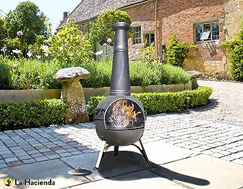 La Hacienda Rancho - Chimenea de acero de bronce con grill para barbacoas (134 cm): Amazon.es: Jardín
