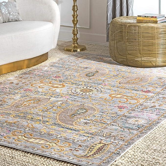 Nuloom Leah Oriental Area Rug 5 3 X 7 7 Grey Furniture Decor Amazon Com