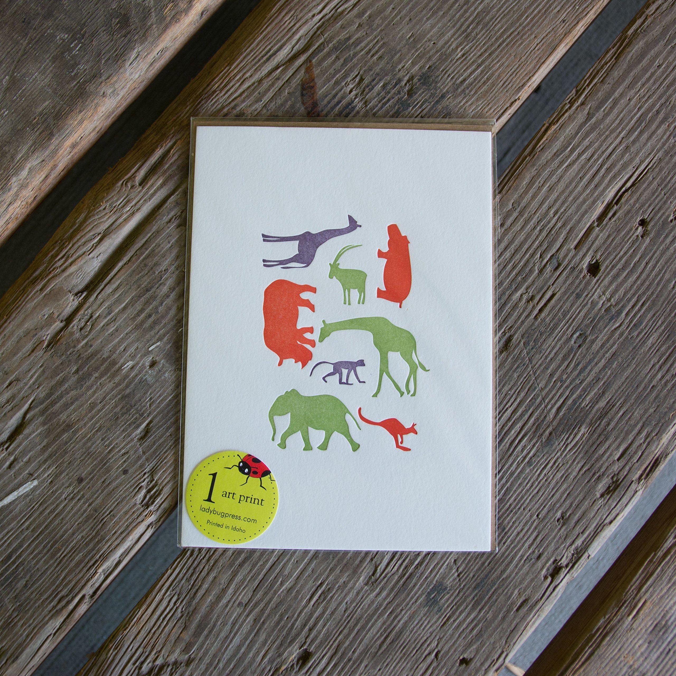 Animal Zoo Print, letterpress printed, eco-friendly, art print