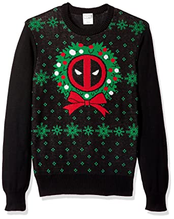 marvel mens deadpool night black ugly christmas sweater at amazon mens clothing store - Black Christmas Sweater